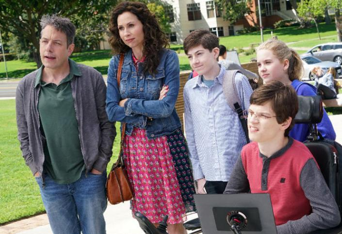 """SPEECHLESS- """"Pilot"""" - Maya DiMeo moves her family to a new, upscale school district when she finds the perfect situation for her eldest son, JJ, who has cerebral palsy. While JJ and daughter Dylan are thrilled with the move, middle son Ray is frustrated by the family's tendencies to constantly move, since he feels his needs are second to JJ Soon, Maya realizes it is not the right situation for JJ and attempts to uproot the family again. But JJ connects with Kenneth, the school's groundskeeper, and asks him to step in as a his caregiver, and Ray manages to convince Maya to give the school another chance, on the series premiere """"Speechless"""" WEDNESDAY, SEPTEMBER 21 (8:30-9:00 p.m. EDT), on the ABC Television Network. (ABC/Adam Taylor)JOHN ROSS BOWIE, MINNIE DRIVER, MASON COOK, KYLA KENEDY, MICAH FOWLER, DINA SPYBEY-WATERS"""